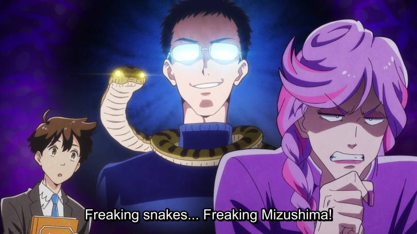 "Kanamori faces the camera, gritting her teeth rage. Behind her Mizushima fills the frame, glasses glowing menacingly, a snake wrapped around his shoulders. Kanamori thinks ""Freaking snakes... Freaking Mizushima!"""