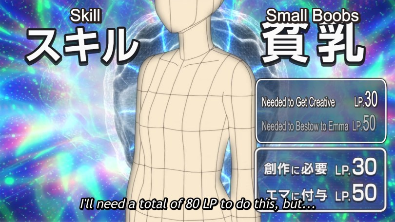 A wire frame brain sparkles behind a 3D model of a flatchested woman. Text box: Skill Small Boobs Needed to get Creative LP 30, Needed to bestow to Emma LP 50. Subtitle: I'll need a total of 80 LP to do this, but...