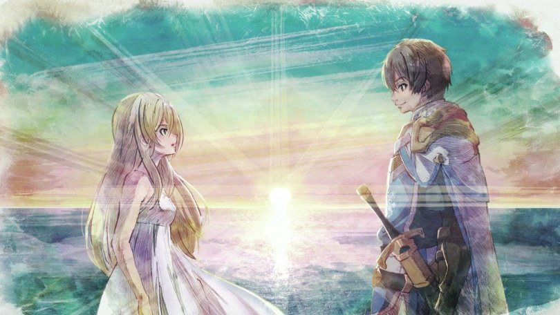 a girl in a dress and a knight staring at one another with a sunrise between and behind them them