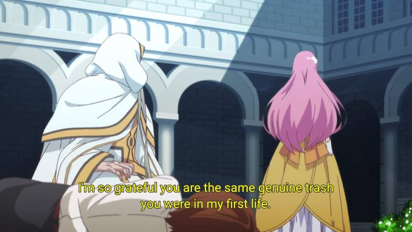 """As Flare walks away, Keyaru thinks """"I'm so grateful you are the same genuine trash you were in my first life."""""""