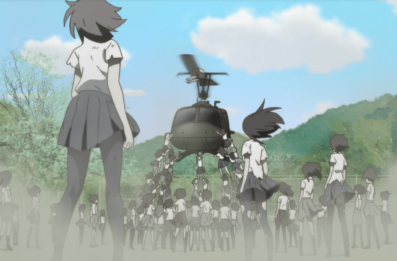 Zombies trying to destroy a helicopter.