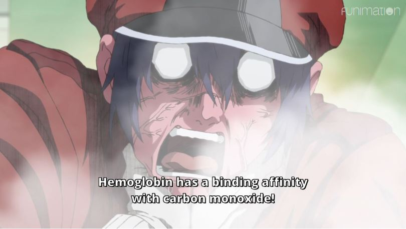 A man with a flushed, choking face. subtitle: Hemoglobin has a binding affinity with carbon monoxide