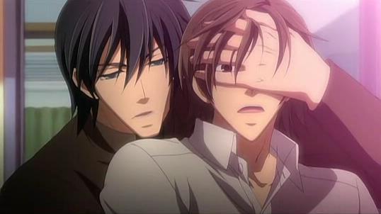 Nowaki trying to protect Hiroki.