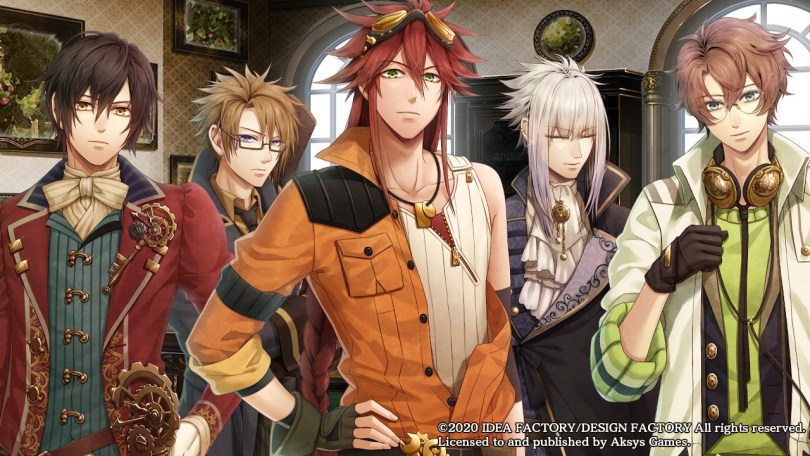 The cast of Code:Realize featuring Arsene Lupin, a visual-kei Abraham Van Helsing, a cool looking Impey Barbicane, a pensive-looking Count Saint Germain and an innocent looking Victor Frankenstein