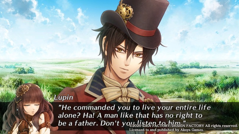 """Lupin in a steam punk top hat stands in a meadow. Subtitle: """"He commanded you to live your entire life alone? Ha! A man like that has no right to be a father. Don't you listen to him."""""""
