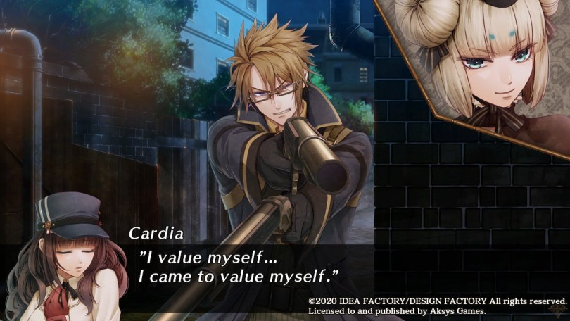 "Van Hellsing holds two big guns up at once as a woman with cinnamon roll buns on her head smiles coldly in a cut in. Cardia: ""I value myself... I came to value myself."""