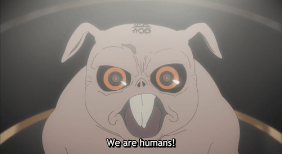 Kiromaru on the stand, righteous. subtitle: We are humans!