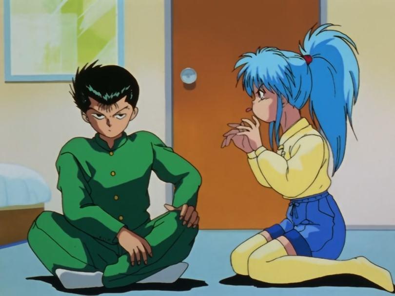 Yusuke sulking next to a frustrated Botan