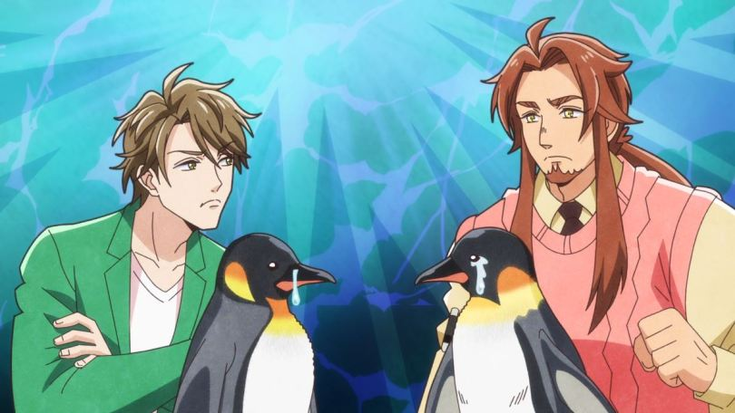 two men facing off with two versions of the penguin: one that gets rid of salt through tears, one through snot