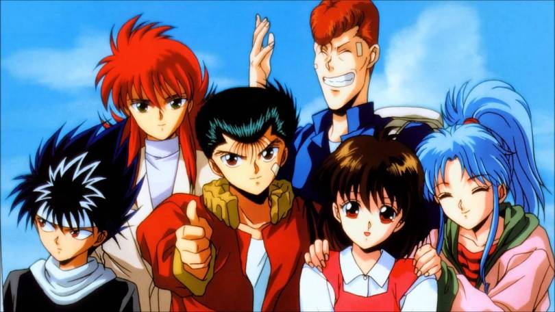 the main cast of Yu Yu Hakusho crowded together as if for a photo