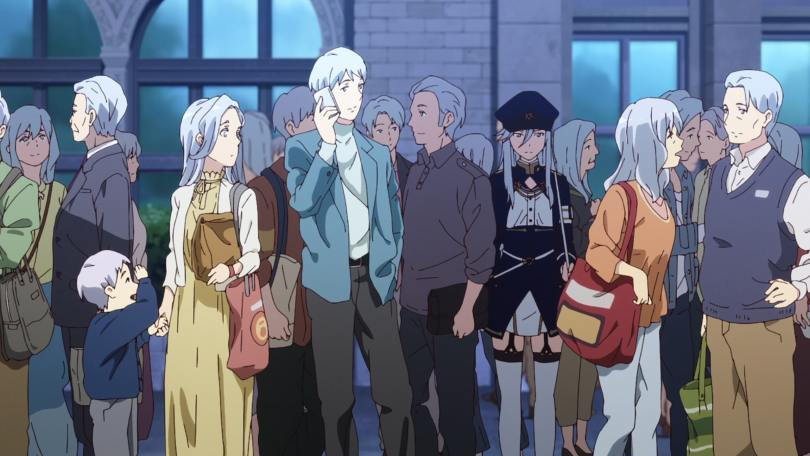 A crowd shot of a bunch of people of varying heights and outfits, but all with the same shade of silver hair and eyes.