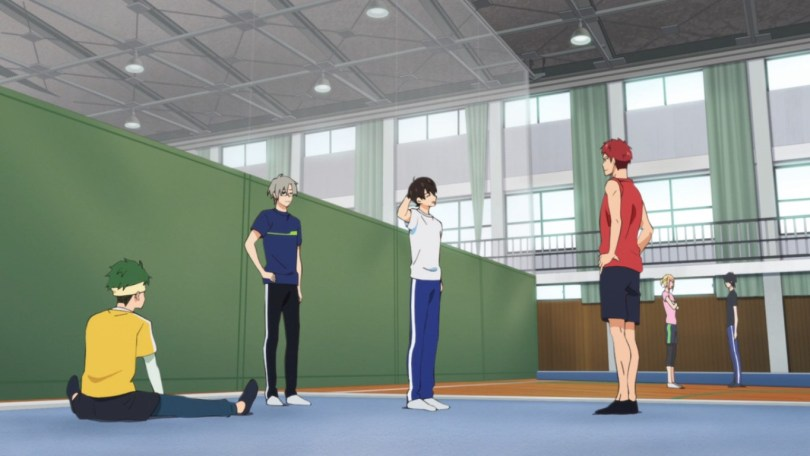 Shotaro exercises with the gym club members.