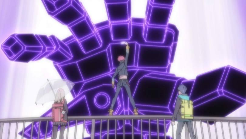 A glowing purple-and-black giant robot hand reaches forward towards three teenagers (Yume, Yomogi, and Gauma) facing away from the shot.