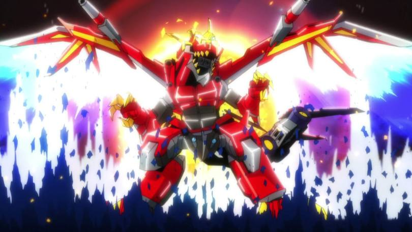 A giant robot shaped like a dragon stands before an explosion of color, its mouth open in a roar.
