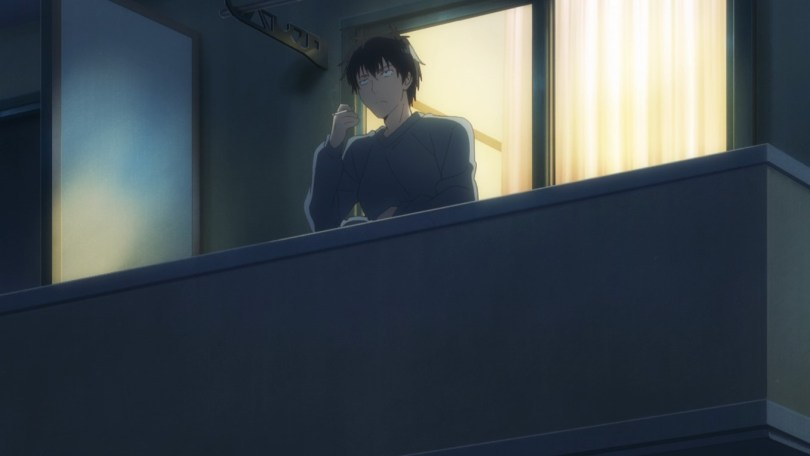 Yoshida steps out onto his balcony for a late night smoke and a bit of contemplation.