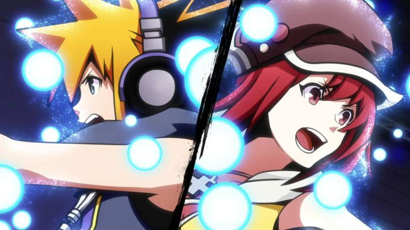 A split-screen of Neku and Shiki in action poses with glowing lights all around them.