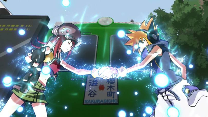Shiki and Neku clasp hands. Balls of glowing light surrounded them.