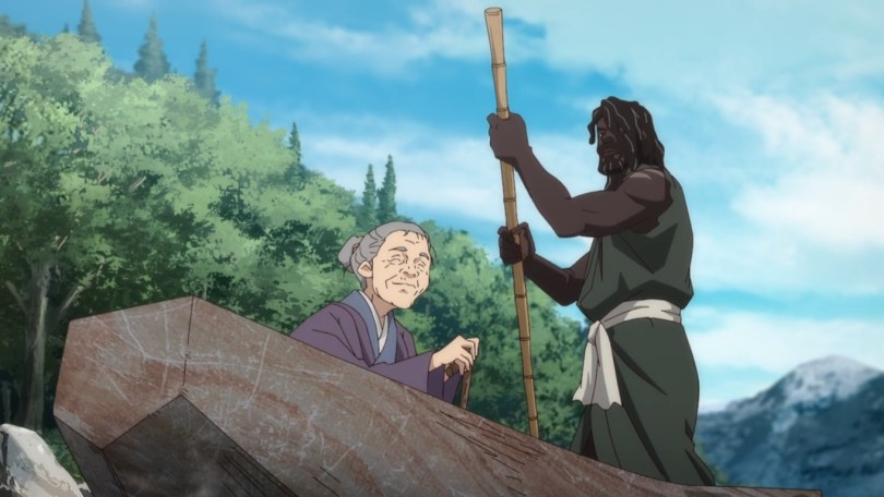 Yasuke, now Yassan, ferries and old woman down river.