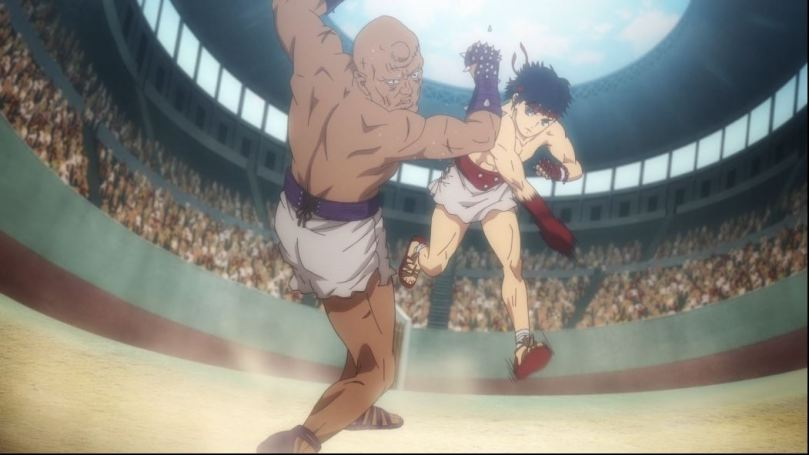 Cestvs hitting a larger opponent in the Colliseum