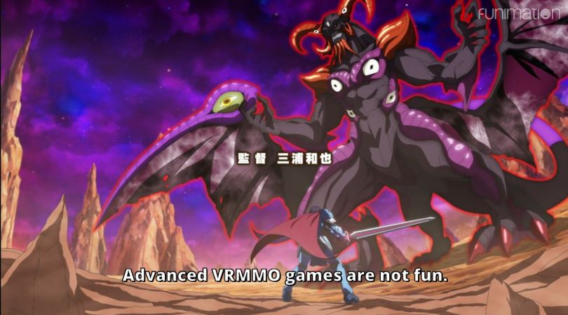 """a hero facing off against a giant demon. subtitle """"Advanced VRMMO games are not fun!"""