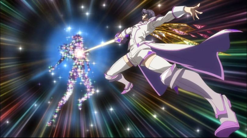 action shot of Ranmaru driving his sword into a sparkling figure's heart