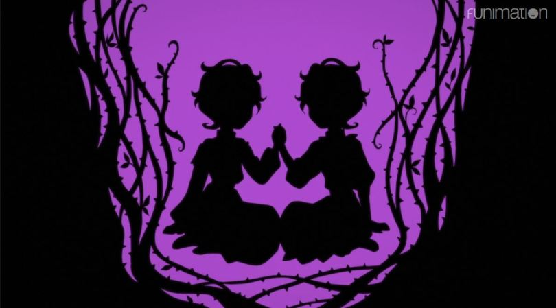 two identical silhouettes surrounded by thorny branches