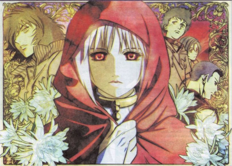 promo image from Wolf's Rain of a woman in a red cloak surrounded by white flowers and the four main characters