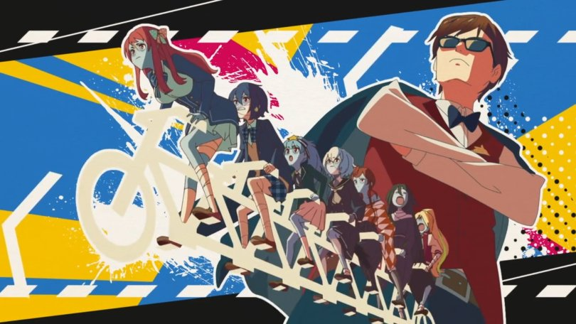 Opening theme image of the cast of Zombieland Saga on together on a tandem biycyle with their manager posed in the background