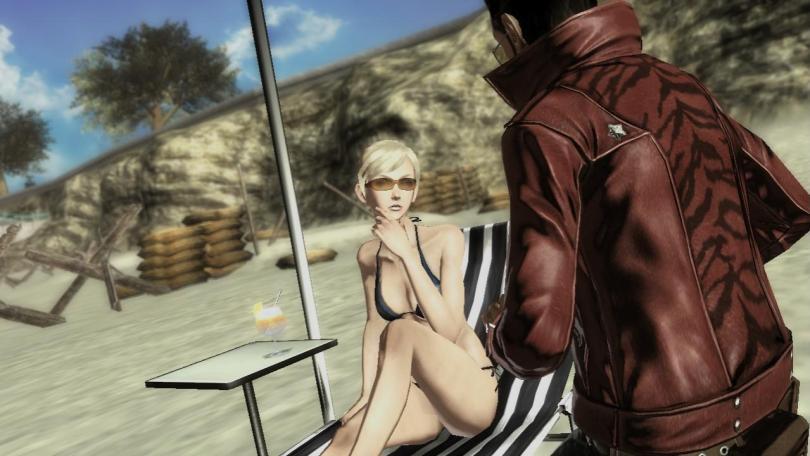 Sylvia posing seductively in a bikini while talking to Travis