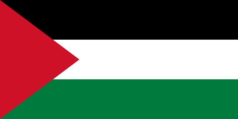 Palestinian Flag (green, white, and black flags with a red triangle on the left side)