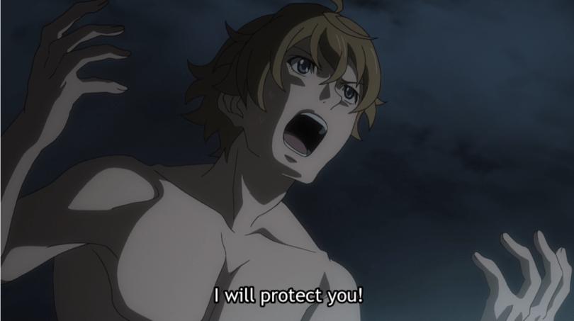 Masayoshi yelling, impassioned. subtitle: I will protect you!