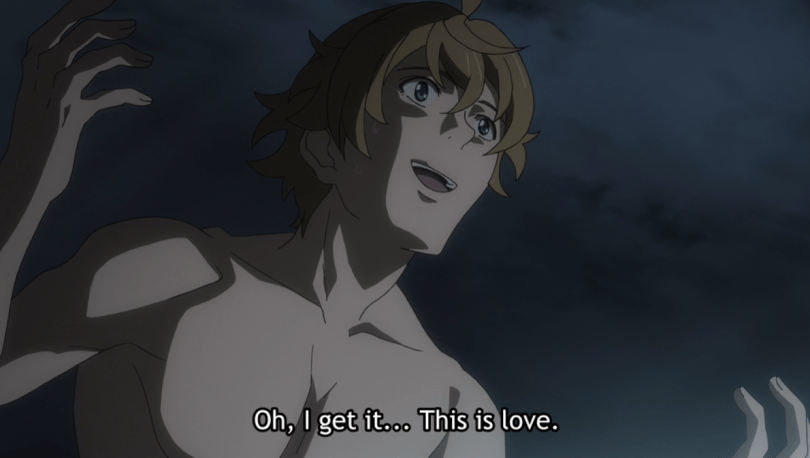 Masayoshi having a realization. subtitle: Oh, I get it... This is love.
