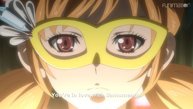 close-up of Mari. subtitle: You're in love with Samumenco