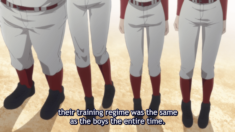 waist-down shot of four girls in baseball uniforms. subtitle: their training regime was the same as the boys the entire time