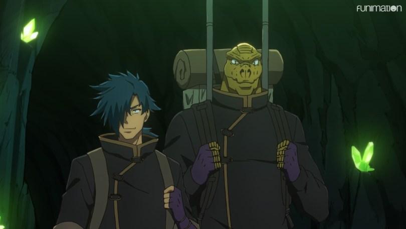 Kinji and alligator demihuman Wanibe make their way through a dungeon on an expedition.
