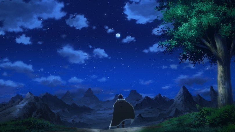 Protagonist, and failed hero, Makoto looks at the moon in the world he's been sent to.