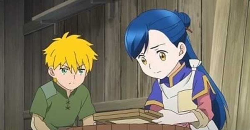 Ascendance of a bookworm's Main working a paper pulp seive while Lutz watches her intently