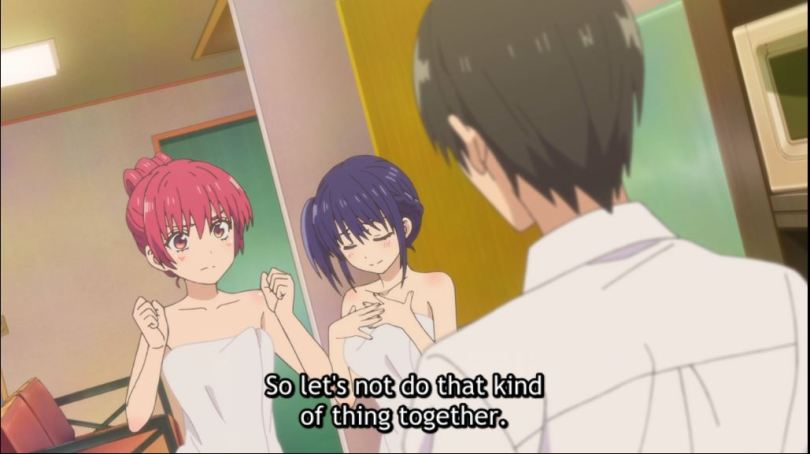Naoya talking to Saki and Nagisa in towels. subtitle: So let's not do that kind of thing together
