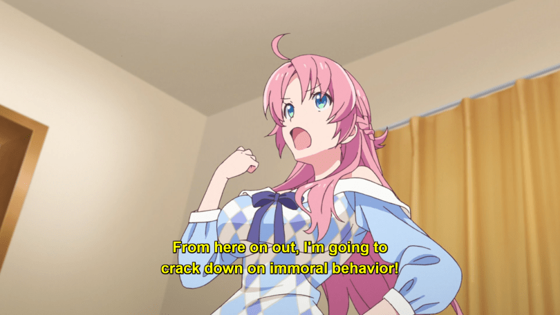 a determined pink-haired girl. subtitle: from here on out, I'm going to crack down on immoral behavior.