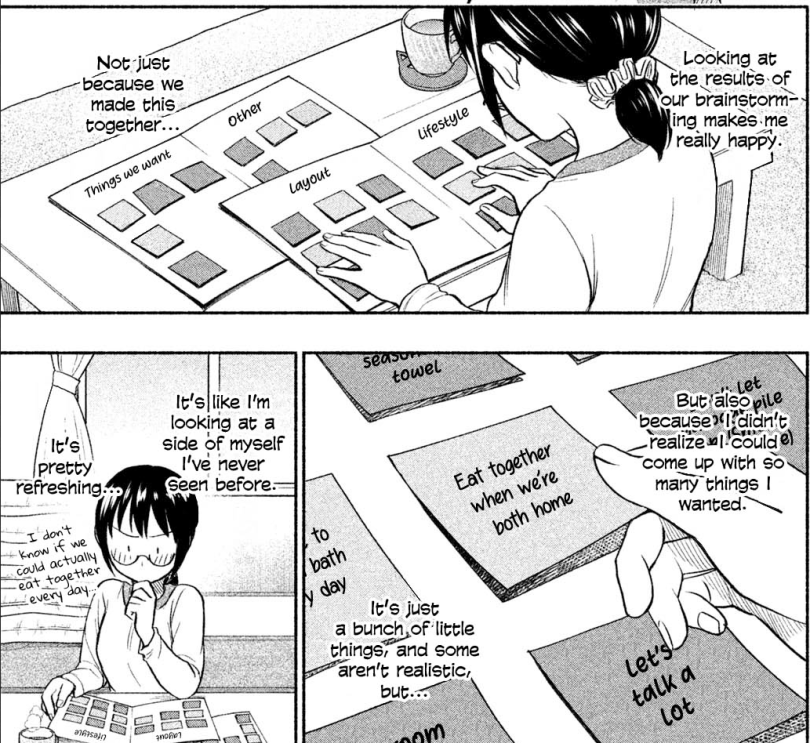 Asako happily working on a chart of things she'd like to do with Natori