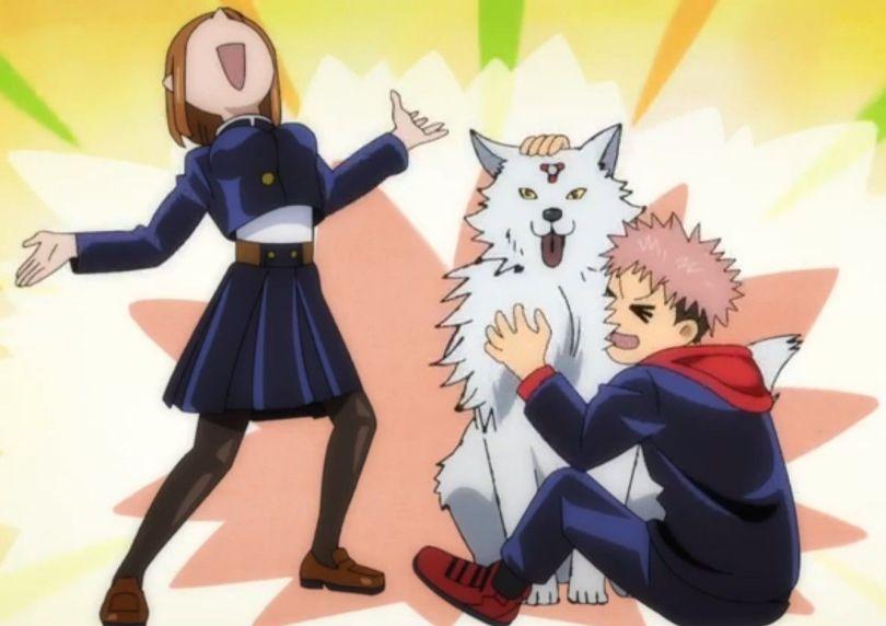 Nobara posing in triumph as Yuji cuddles a big fluffy dog
