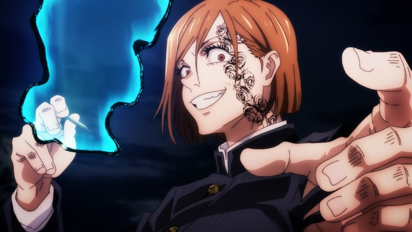 an eerie Nobara holding a cursed nail