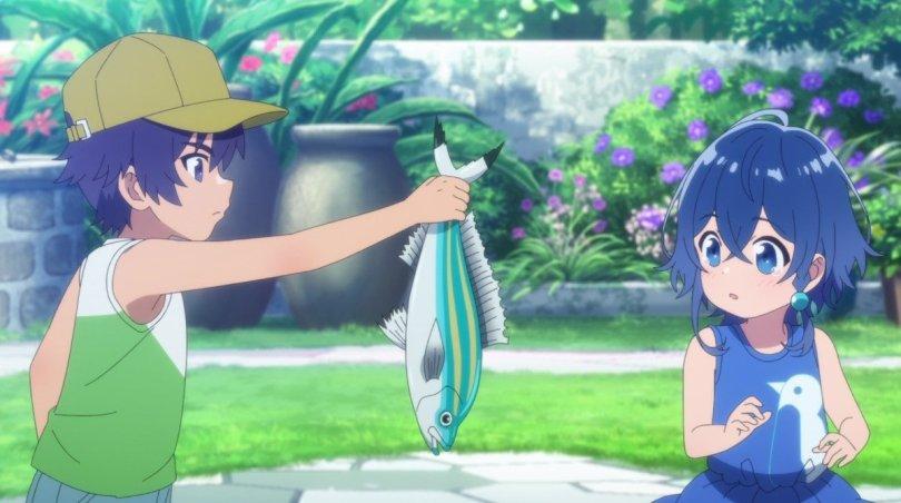 a small boy awkwardly gifting a small girl a fresh-caught fish