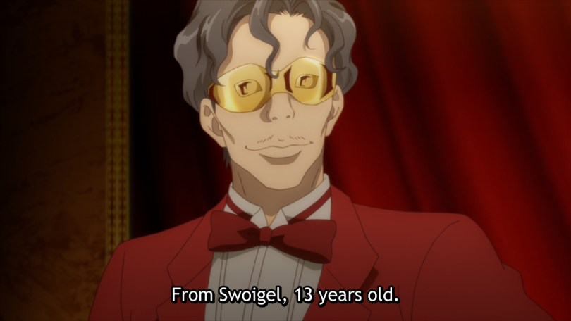 A man in a red tuxedo wearing a red mask. Subtitle: From Swoigel, 13 years old.