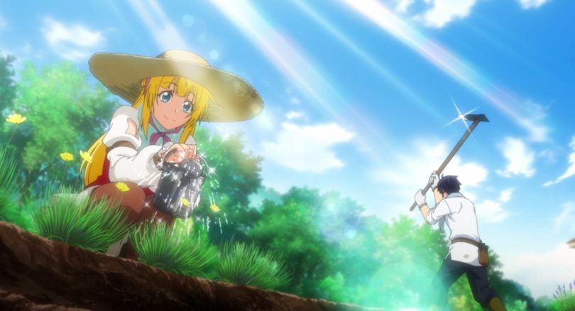 A blonde girl in a straw hat gardening. In the background a tall man is hoeing at the ground