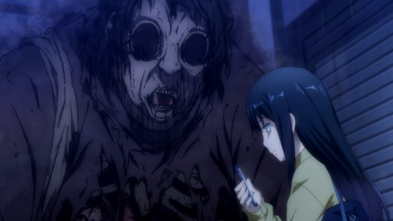 A girl looking at her phone while a grotesque ghost surrounded by black smoke stands over her