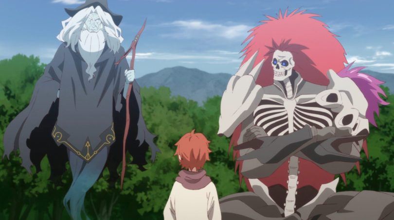 A little boy sitting in front of two monsters: a skeleton with a fluff of red hair, and the ghost of a wizard