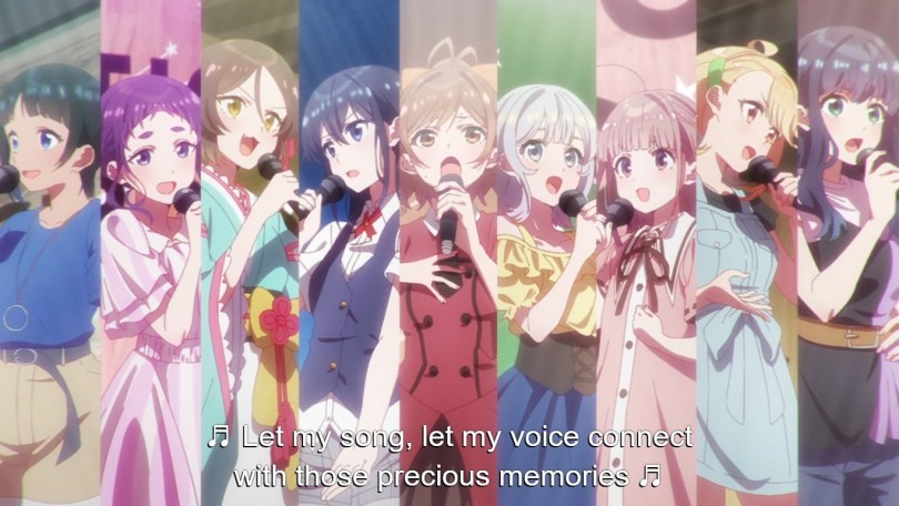 Protagonist Suzune sings alongside her fellow competators in the Selection Project's 7th series audition.