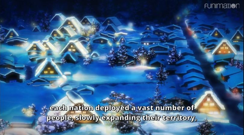 a shot of peaceful snowy villages. subtitle: Each nation deployed a vast number of people, slowly expanding their territory