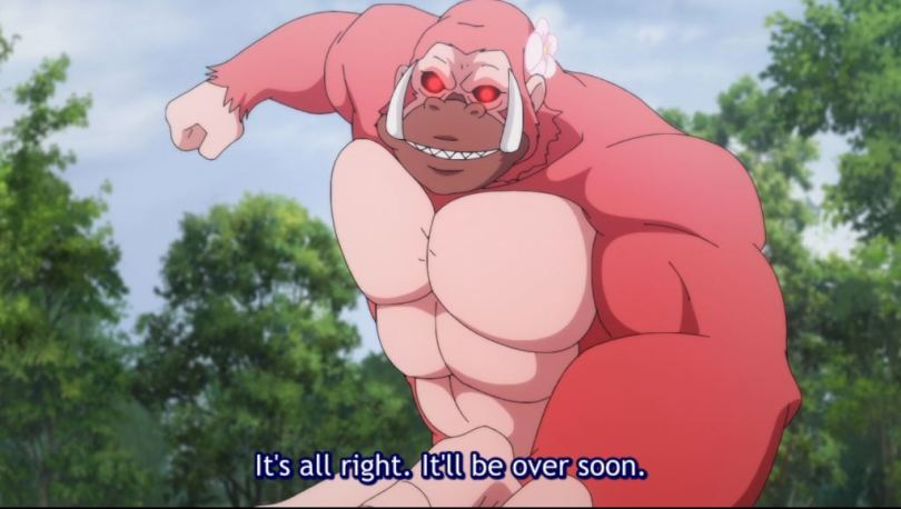 A buff monkey mid-punch. subtitle: It's all right, it'll all be over soon